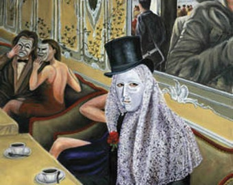 Hidden Faces, 8x10 giclee print from original oil painting, home decor, art  earthspalette