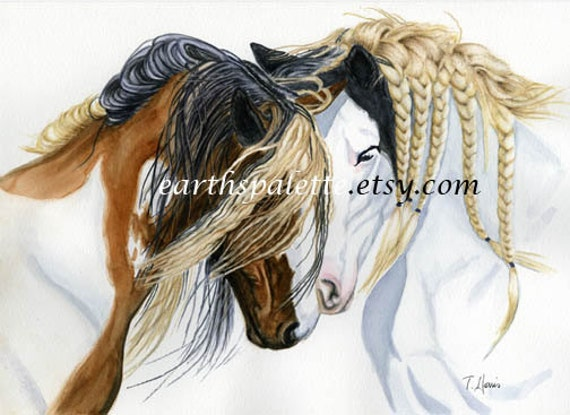 Gypsy Vanner, horses  8x10 PRINT from original watercolor painting, art &  collectibles earthspalette