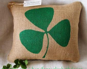 Burlap Shamrock Pillow FREE SHIPPING- St. Pat's Day Pillow- Irish Pillow-Decorative Pillow- St. Patrick's Day- Pillow- Irish