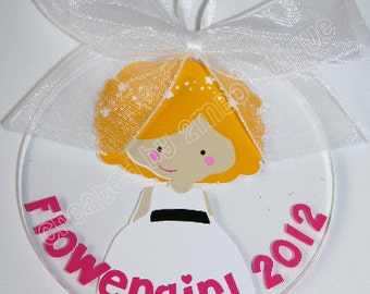 Flower Girl Ornament/Key Chain with Date. Great gift idea