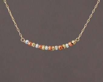 Gold, Rose Gold, and Silver Beaded Necklace