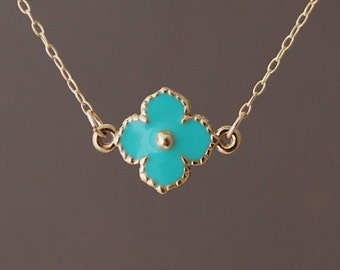 Turquoise Gold Clover Flower Necklace