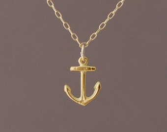 Gold Tiny Anchor Necklace also available in silver