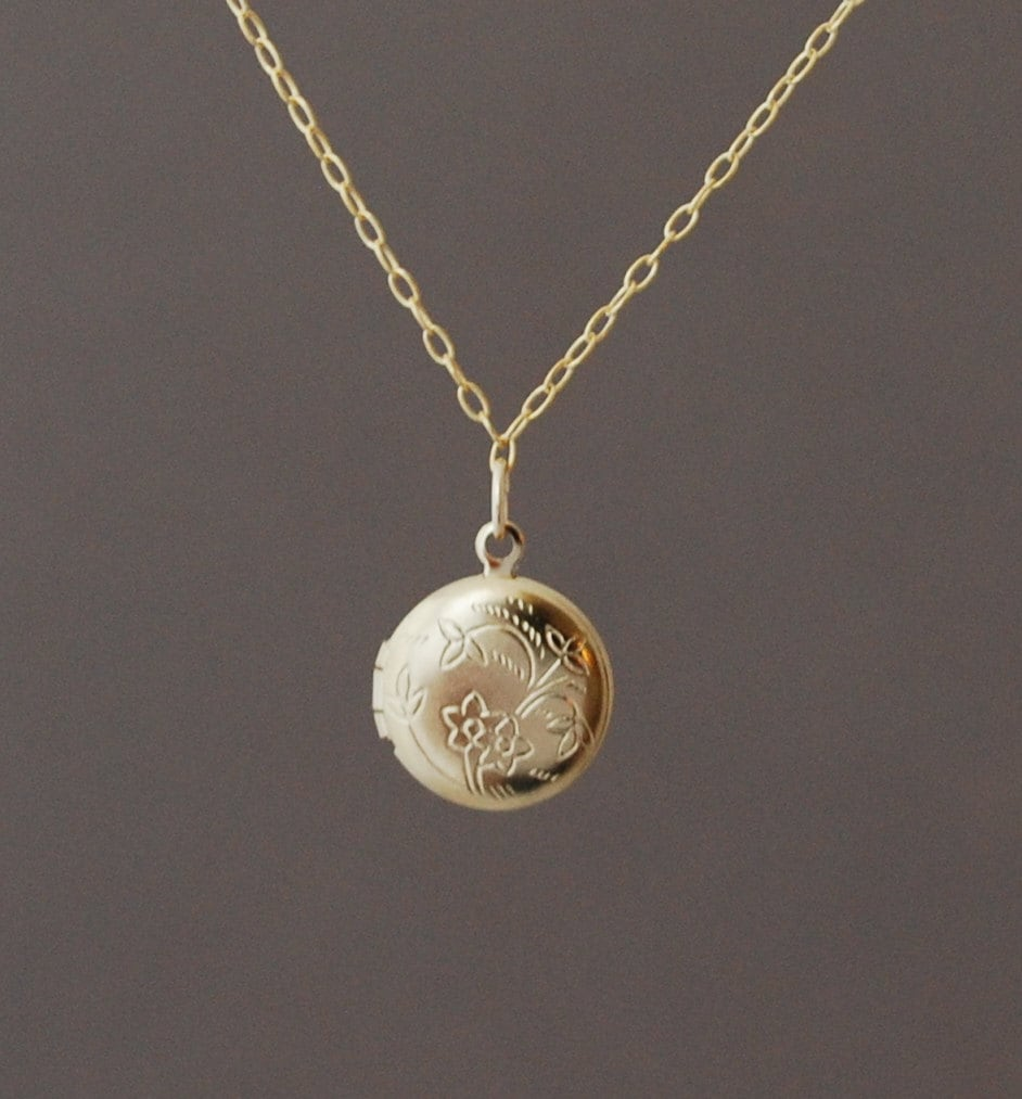 Small Gold Round Locket Necklace