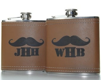 Custom Groomsmen gift Monogrammed Leather Wrapped Flasks - Set of 5 - your choice of color - Moustache Flask - groomsmen gift - monogrammed