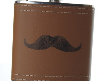 Polar Stones Leather wrapped Moustache etched flask