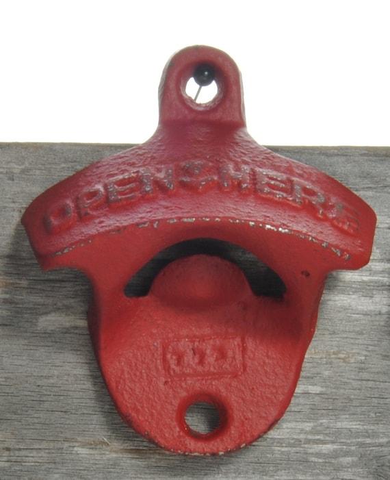 antique look wall mount bottle opener in barn red deck. Black Bedroom Furniture Sets. Home Design Ideas