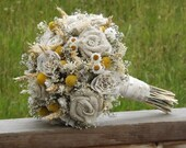 Bridesmaid Bouquet, Dried Flowers, Craspedia, Burlap Roses, Paper and Lace Roses, Country, Farmhouse, Rustic MADE TO ORDER