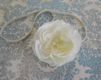 Baby Headband...Ivory Flower Headband w/ Pearls....Baby Dedication... Flower Girls...Infant Headband...Girls Headband...