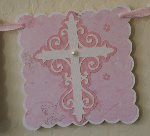 Baptism Banner - 2 Rows, Pink, Party Sign, Party Decoration, Religious Celebration