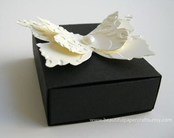 Ivory and Black Wedding Matchbox Favor boxes-Wedding Table Decorations - Bridal Showers - Custom Wedding Favors - Made To Order