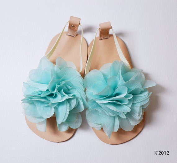Leather baby sandals with Aqua chiffon flower- other colors available
