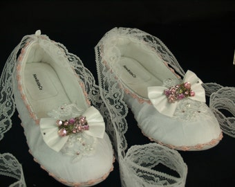 Ready to Ship Size 5 Retro Pink Wedding Shoes Ballet lace straps, White & Pink Ballerina Slippers, Lace Up Ribbon, Victorian, Edwardian