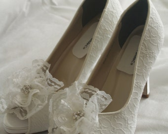 Wedding Shoes White Lace high heels white lace flower crystals, Peep Toe Platform Heels, Lace Covered Heels, Ruffled Lace Flower, Crystals