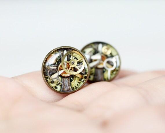 Steampunk earrings studs - Antique Watch Movements ear posts - Steampunk Jewelry