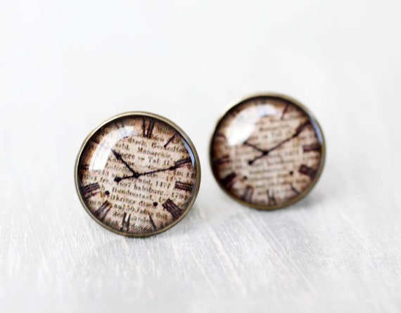Antique clock Cuff links - Steampunk, time, beige, dial - Men cufflinks