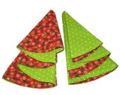 Christmas Tree Cloth Dinner Napkins - Set of 6 - 16 inch Round