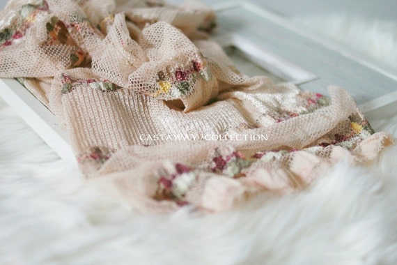 Newborn Wrap: Newborn Photo Prop - Stretch Wrap, Knit Wrap, Ruffle, Lace, Mini Blanket, Basket Stuffer Filler, Photography Props