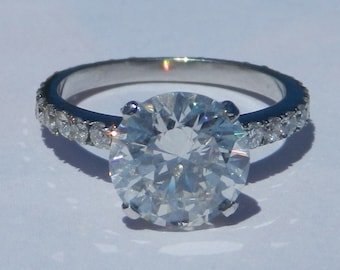 Natural 3.79 Carat Diamond Engagement Ring Solid 950 Platinum eternity style