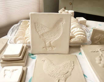 Clay Sprig - Chicken Hen Pottery Press Mold - Push Mold or Sprig Mold for Ceramic Decoration and Texture