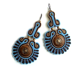 Soutache statement earrings (or studs or clip earrings) elegant, unusual and perfect for jeans - King's Seal