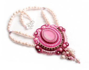 1/3 PRICE - OOAK soutache necklace - elegant, classy and unusual , perfect for the bride, handmade wedding jewelry - Pearl Queen