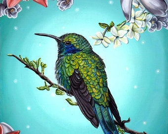 Hummingbird with Lilies Jasmine Orchids Flowers Nature Fantasy A4 Art Print