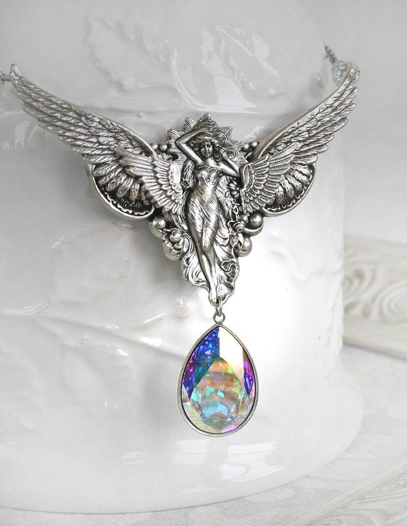 THE GUARDIAN romantic vintage fantasy inspired angel necklace with large Swarovski crystal, free gift boxing