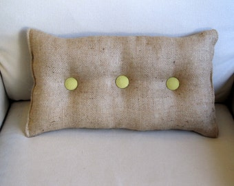 lumbar style 11x19 Burlap Pillow with granny smith green organic cotton duck buttons