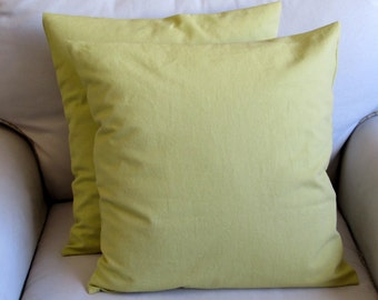 granny smith green cotton duck pillow covers with inserts