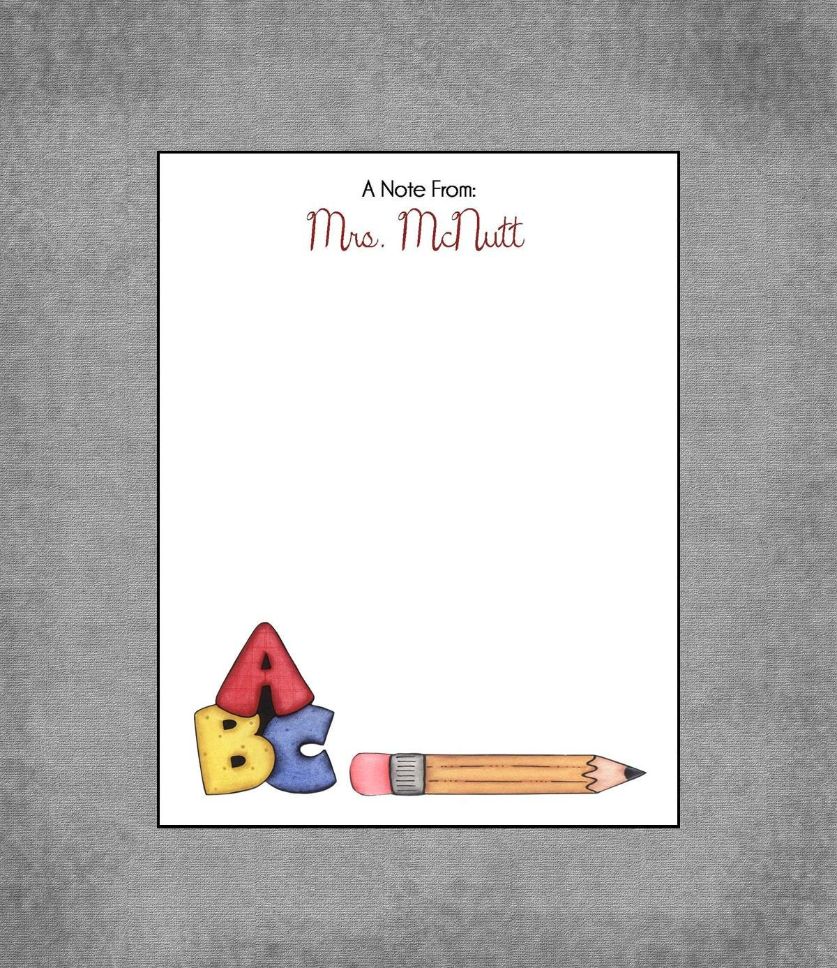 colorful abc pencil notepad personalized custom teacher notepads