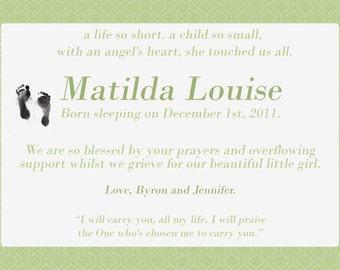 Miscarriage/Stillborn/Infant/Child Memorial announcement