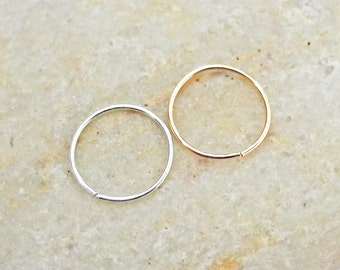 Set of Two Thin 24 Gauge Nose Hoops, Argentium Silver, 14K Rose Gold Filled, Slim Nose Rings