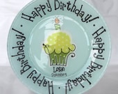Birthday Cake Plate - Personalized Happy Birthday Plate - Hand Painted Ceramic Plate - Special Occasion Plate - Personalized Kids Plate