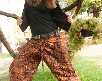 Thai Harem  Pants, Cotton, Batik, Black/yellow /ochre with autumn print