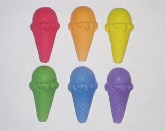 Ice Cream Cone Shaped Sidewalk Chalk - Set Of 6 - You Choose The Colors