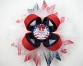 Red White and Blue Hair Bow - Patriotic Hair Clip - 4th of July Hair Clip - Red Hair Bow - Blue Hair Bow - White Hair Bow