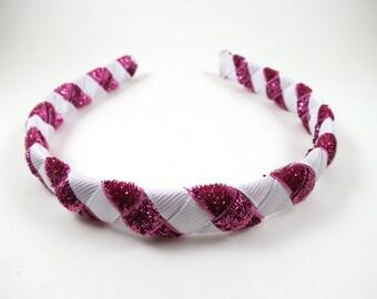 Pink and White Headband - Hot Pink Headband - White Headband - Ribbon Woven Braided Headband - Toddler Child Adult Headband