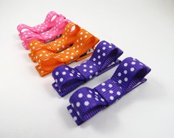 Polka Dot Hair Bows - Hair Clip Gift Set - Pink Polka Dot Hair Clips - Purple Polka Dot Hair Clips - Orange Polka Dot Hair Clips