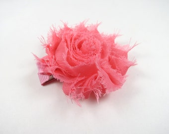 Salmon Pink Flower Hair Bow - Pink Hair Clip - Flower Hair Bow - Shabby Chiffon Hair Clip - Infant Toddler Child Teenager Hair Clip