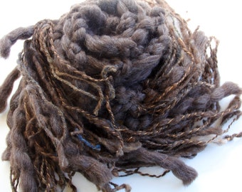 Hand Knit Super Bulky Scarf in Chocolate Brown  of Super Soft Handspun Hand Dyed Yarn