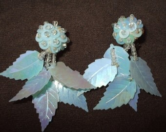 1950s Blue Leaf Earrings Sparkling Pale Blue Iridescent - Clip On Dangle Vintage Plastic Beads and Sequins Blue Leaves Earrings