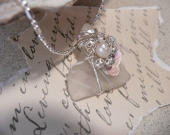 Clear frosted patterned sea glass, abalone and pearl pendant necklace-FREE SHIPPING-