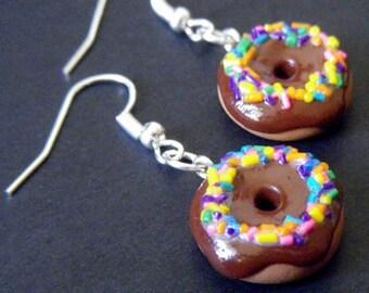 Rainbow Sprinkled Doughnut Earrings