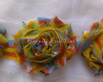 1 Yd., Sunset Rainbow Shabby Flower Trim, NEW Print, Chiffon Rosettes, Boutique Flowers, LIMITED EDITION