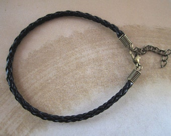 20pcs 3mm 7inches--9inches black color faux braided leather with  bronze Lobster clasp bracelet