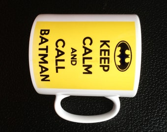 Keep Calm Batman style mug with Personalised Name or message