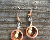 Handmade Artisan copper Earring Drop Eco Vintage Pearl Dangle Jewelry mixed metal