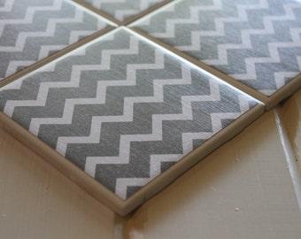 Grey And White Chevron Coasters Four Piece Ceramic Tile Set