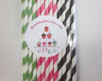 24 Black Pink Green Watermelon Party Paper Drinking Straws